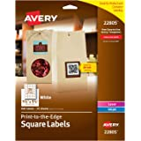 """Avery Square Labels, Laser & Inkjet Printers, Sure Feed, Print-to-The-Edge, 1.5"""" x 1.5"""", 600 Labels (22805)"""