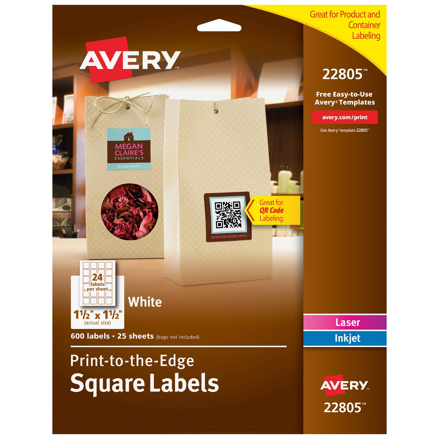 Avery Square Labels for Laser & Inkjet Printers, Print-to-The-Edge, 1 5