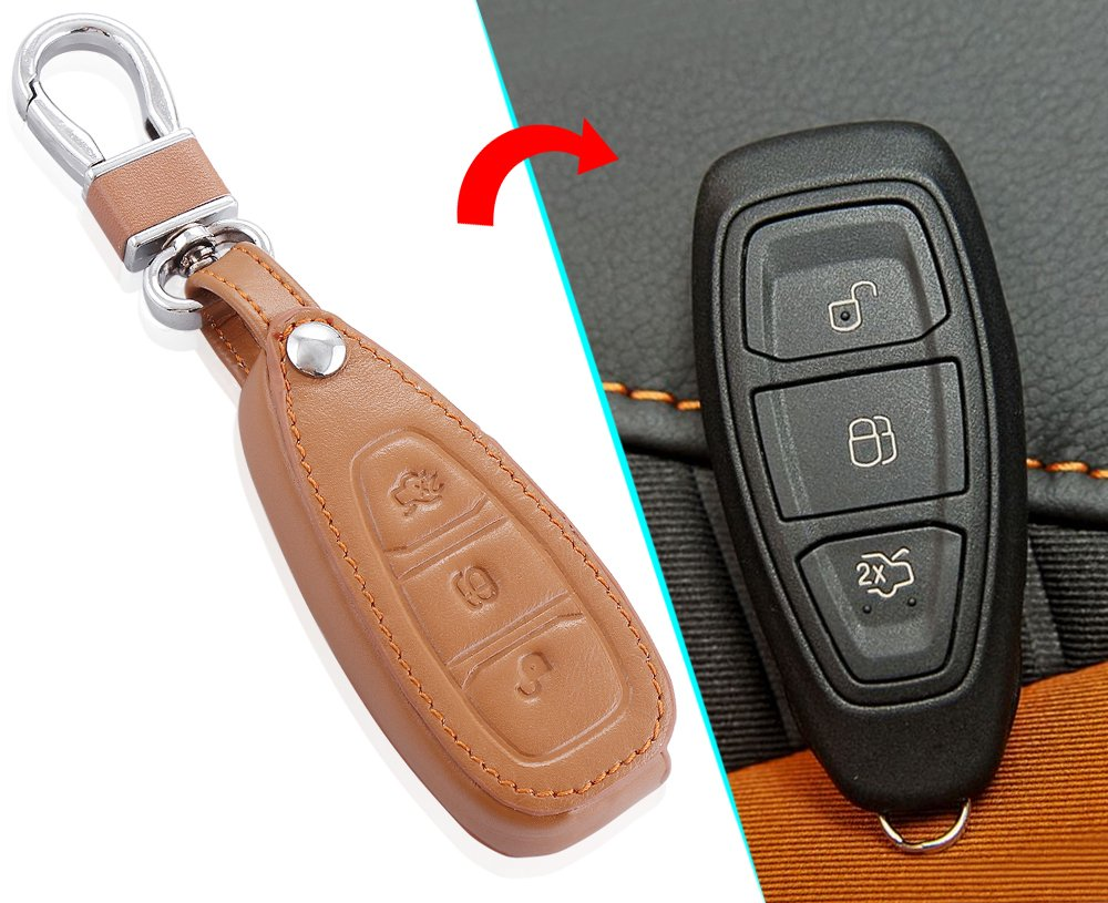 etc 4347651040 VCiiC Leather Car Remote Key Case Cover Fit for Ford Mondeo Focus 3 MK3 ST Kuga Fiesta Escape Ecosport Titanium