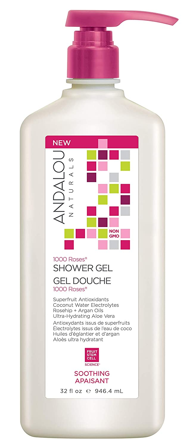 Andalou Naturals 1000 Roses Soothing Shower Gel, Value Size, 32 Ounce