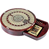 House of Cribbage - Round Shape 4 Tracks Continuous Cribbage Board Bloodwood / Maple with Push Drawer & place for Skunks, Corners & Won Games