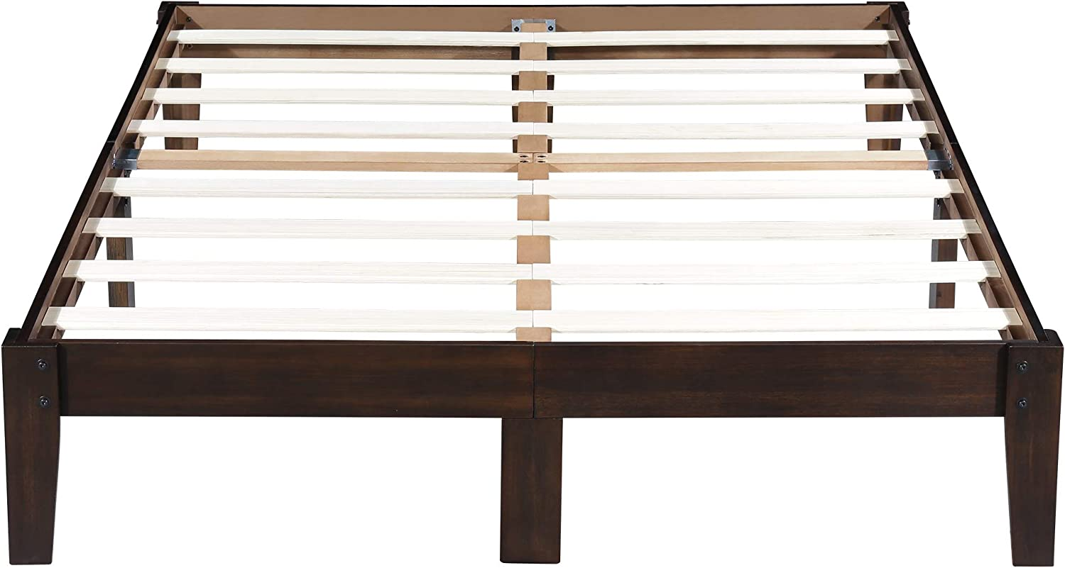 Ecos Living 14 Inch High Rustic Solid Wood Platform Bed with Natural Finish No Box Spring No Squeak, Dark Brown, King
