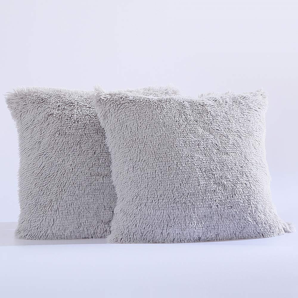 Panku Pillow Cover Long Hair PV Fur Super Soft Pillow Case 2 Pack 20X20, Black