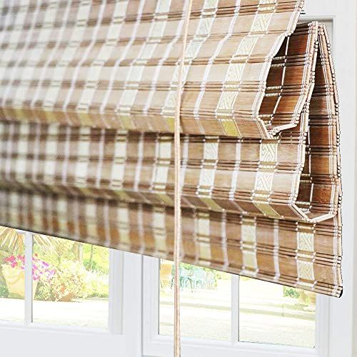 Bamboo Roman Window Shades Blinds, 74W x 60H Inches, Light Filtering UV Protection Roll Up Roller Shades with Valance for Windows, Kitchen, Doors, Porch, Color 2