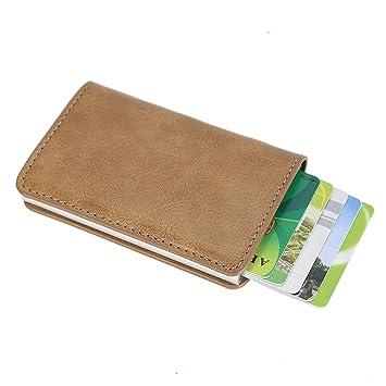 sciuU Cartera Tarjeta de Crédito, Bloqueo RFID, Cartera de Aleación de Aluminio Multiuso Bolsillos, Cuero PU Exterior, Beige: Amazon.es: Equipaje