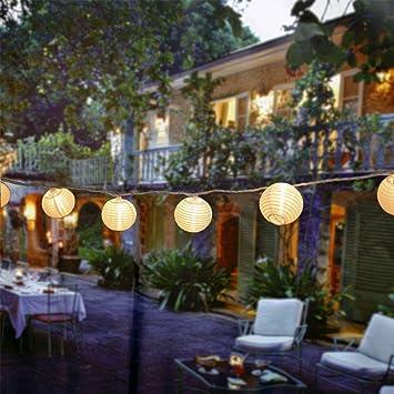 EleganBello Guirnalda Luces 2 LED Linterna 4,8M Blanco Cálido Panel Solar Impermeables Ideal para Jardines, Porches, Balcones, árbol de Navidad, etc: Amazon.es: Electrónica
