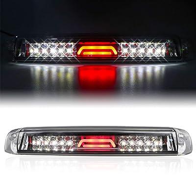 for 99-07 Chevrolet (Chevy) Silverado GMC Sierra 1500 2500 3500 HD Classic, LED Third 3rd Brake Light Reverse Light Rear Cargo Lamp High Mount Stop light Chrome Housing (Clear): Automotive