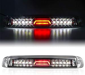 for 99-07 Chevrolet (Chevy) Silverado GMC Sierra 1500 2500 3500 HD Classic, LED Third 3rd Brake Light Reverse Light Rear Cargo Lamp High Mount Stop light Chrome Housing (Clear)