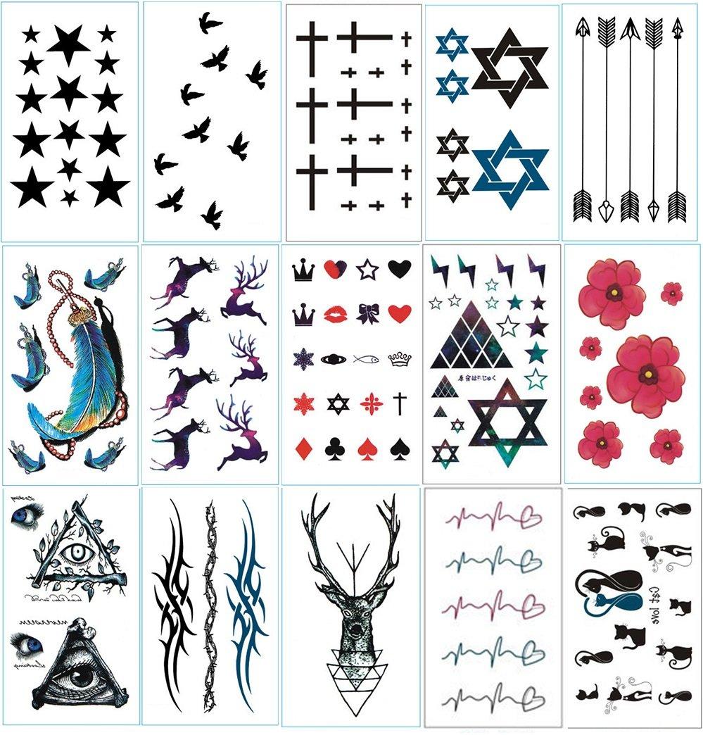 Chileeany Set di 15 fogli Tatuaggi temporanei, impermeabile tatuaggio temporaneo 10.5 × 6cm