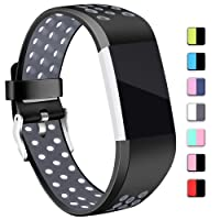 Mornex Strap Compatible Fitbit Charge 2 Strap Bands,Soft TPU Sports Wristbands Bracelet Replacement Straps Breathable Holes, Adjustable Watchband