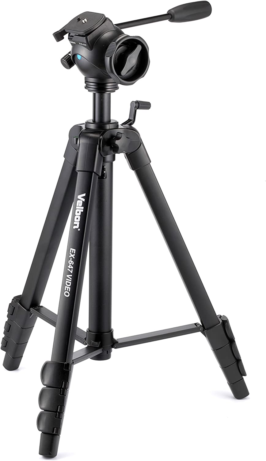 FHD-63D Velbon EX-647 Video 68 inch Video Tripod with Fluid Head with Quick Release Plate