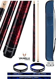 product image for Valhalla VA212 by Viking 2 Piece Pool Cue Stick Red Marble Paint No Wrap 18-21 oz. Plus Cue Case & Bracelet (Red VA212, 18)
