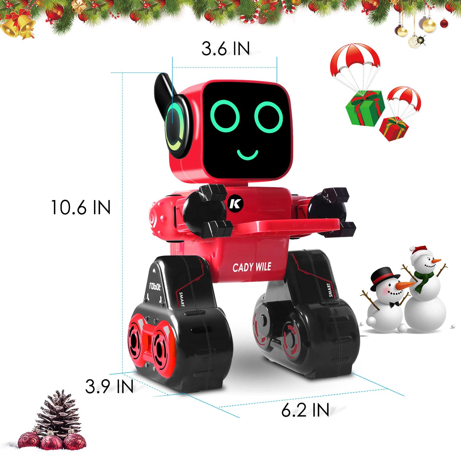 IHBUDS Programmable Remote Control Toy Robot for Kids,Touch & Sound Control, Speaks, Dance Moves, Plays Music. Built-in Coin Bank.Rechargeable RC Robot Kit for Boys, Girls All Ages-Red/Black by IHBUDS (Image #9)
