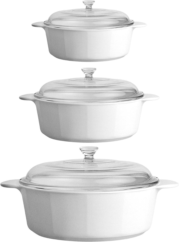 CorningWare Pyroceram Classic Round Casseroles Cooking Pots with Handles & Glass Covers 3.5 Quart, 2.4 Quart & 1.3 Quart - White