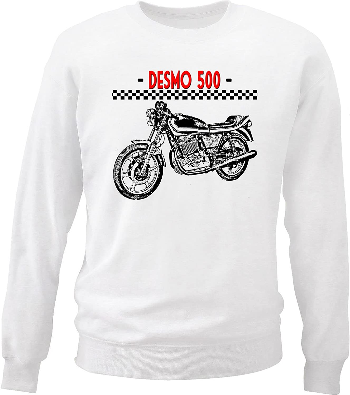 teesquare1st Mens Italian Motorcycle Desmo 500 White Sweatshirt