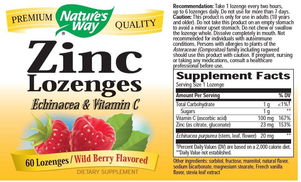 Amazon Com Nature S Way Zinc Lozenge 60 Lozenges Prime Pantry