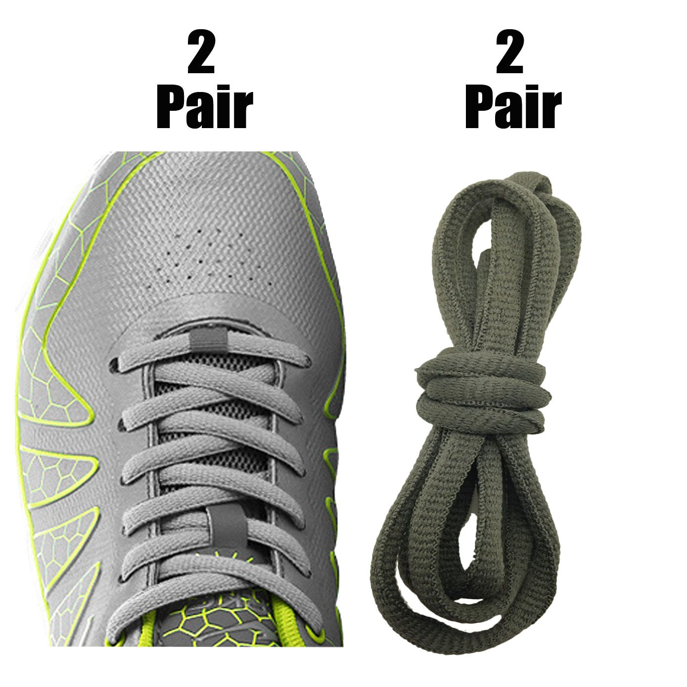 [4 Pairs] Replacement Shoelaces Shoe Laces,iBarbe Strings 45'' Long x 1/4'' Wide,Strong Shoe Laces for Men,Women, Kids&Seniors for Running Sports Sneakers Boots Skates Shoes Casual Shoes-Gray+Green