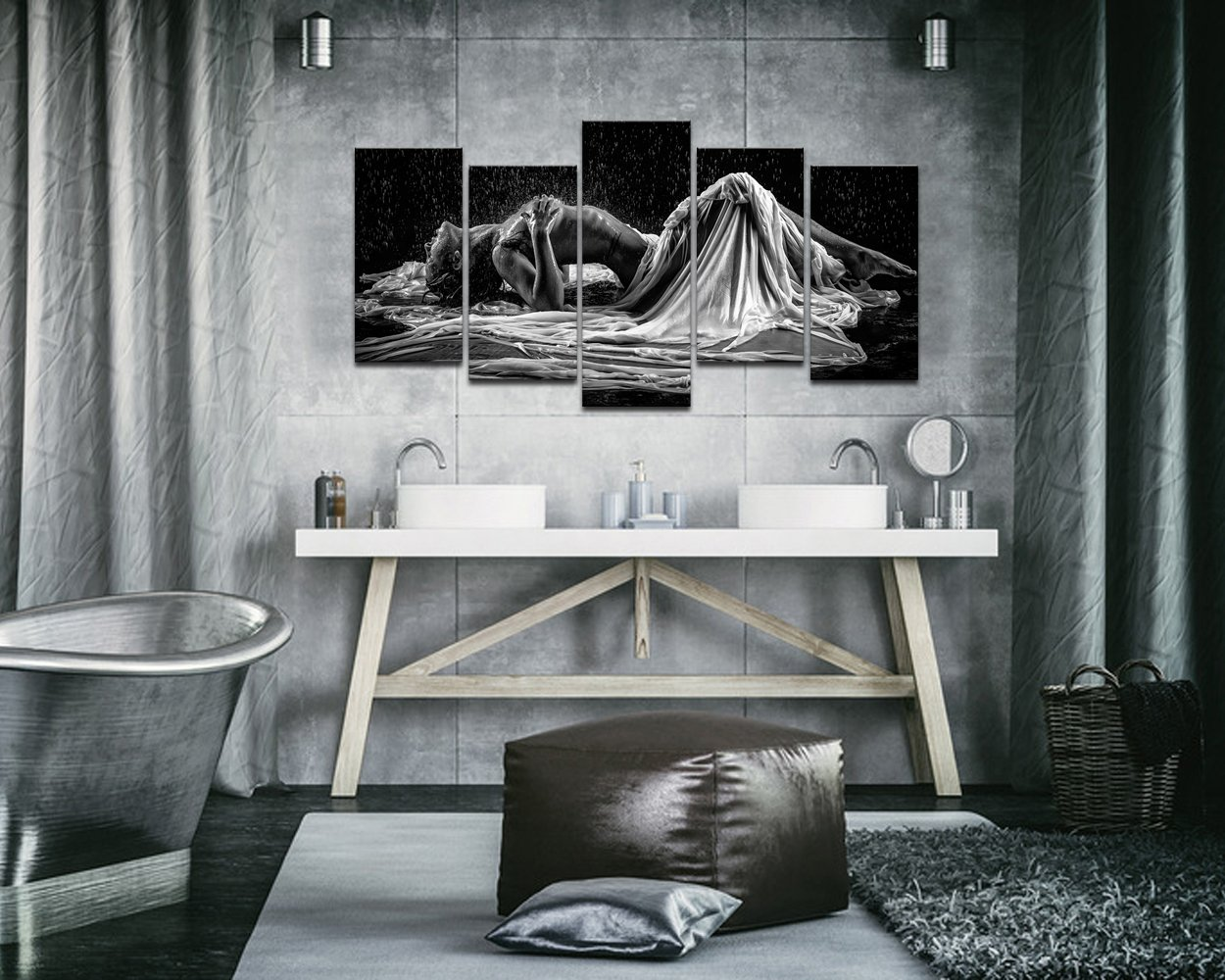 sechars – Naked Girl in The Rain Picture Canvas Prints,Black and White Sexy Woman Wall Art,5 Panels Art Framed for Modern Bedroom Wall Decoration