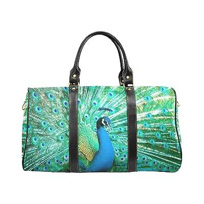 7fa1e0222e0a new Graceful Peacock Travel Duffel Bag Waterproof Weekend Bag with Strap