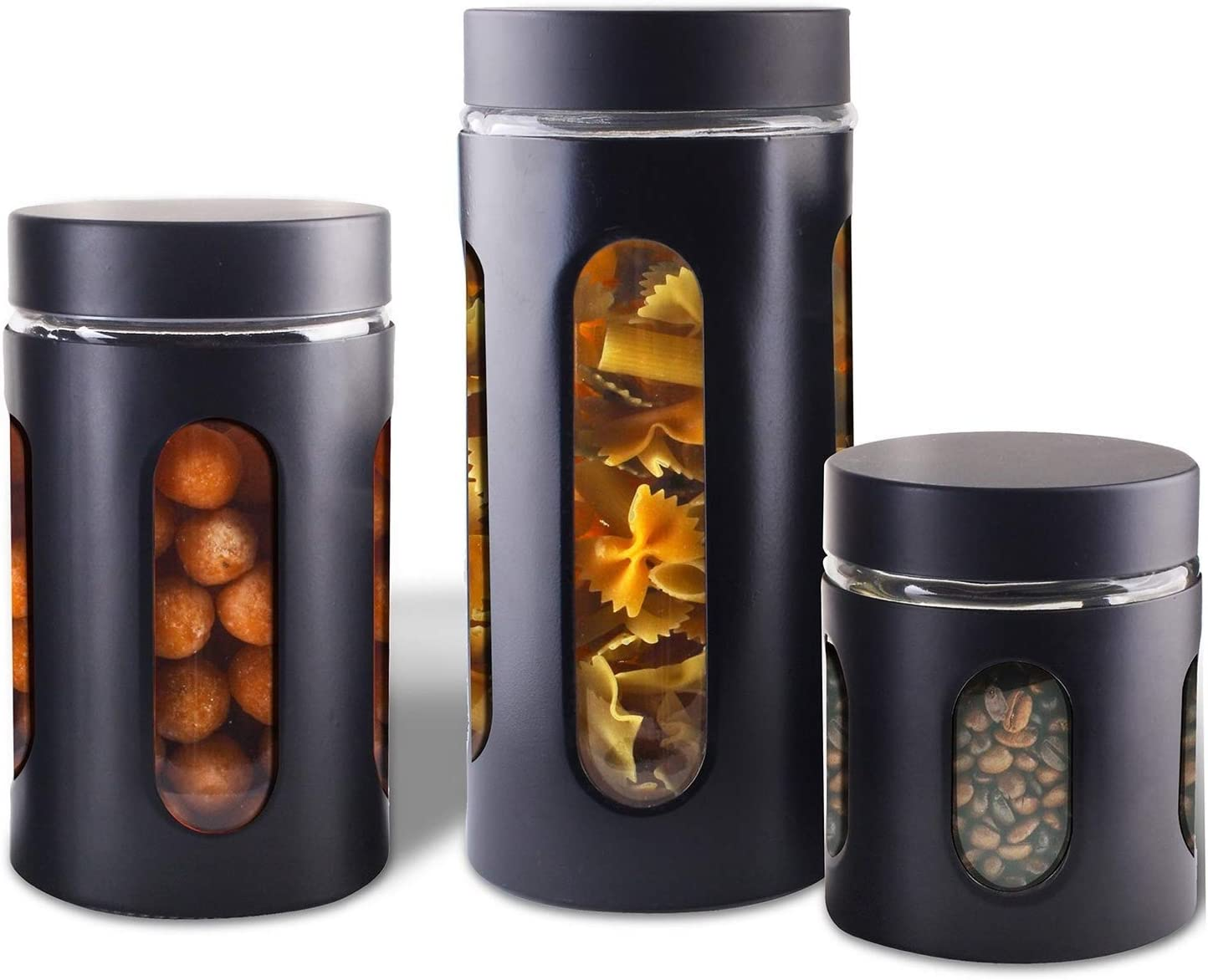 Amazon Com Air Tight Kitchen Canister Set By Premius 3 Piece Glass And Metal Canisters Quick Access And Space Saving Great Safe And Fresh Food Convenient Sizes Modern Design Matte Black Kitchen Dining
