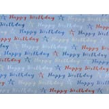 Male Blue, White & Red Birthday Stars Wrapping Paper - 1 Sheet & Matching Tag