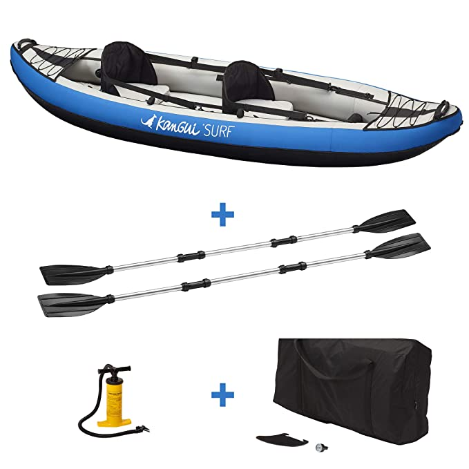 KANGUI Canoë Kayak Hinchable Azul de 1 a 2 plazas + Remo + Bolsa ...