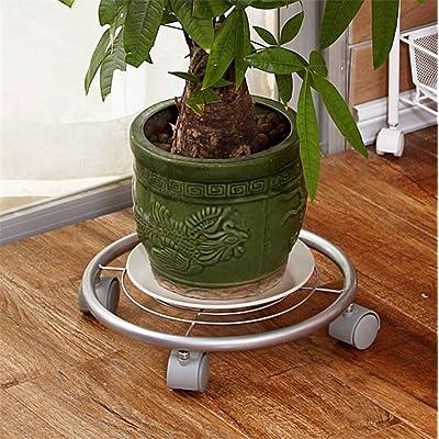 Pots de fleurs circulaires Iron Garden, supports en fonte de fer, roues amovibles