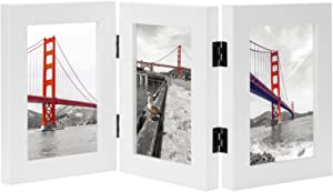 Frametory, 4x6 Inch Hinged Picture Frame with Glass Front - Made to Display Three 4x6 Inch Pictures, Stands Vertically on Desktop or Table Top (Triple, White)