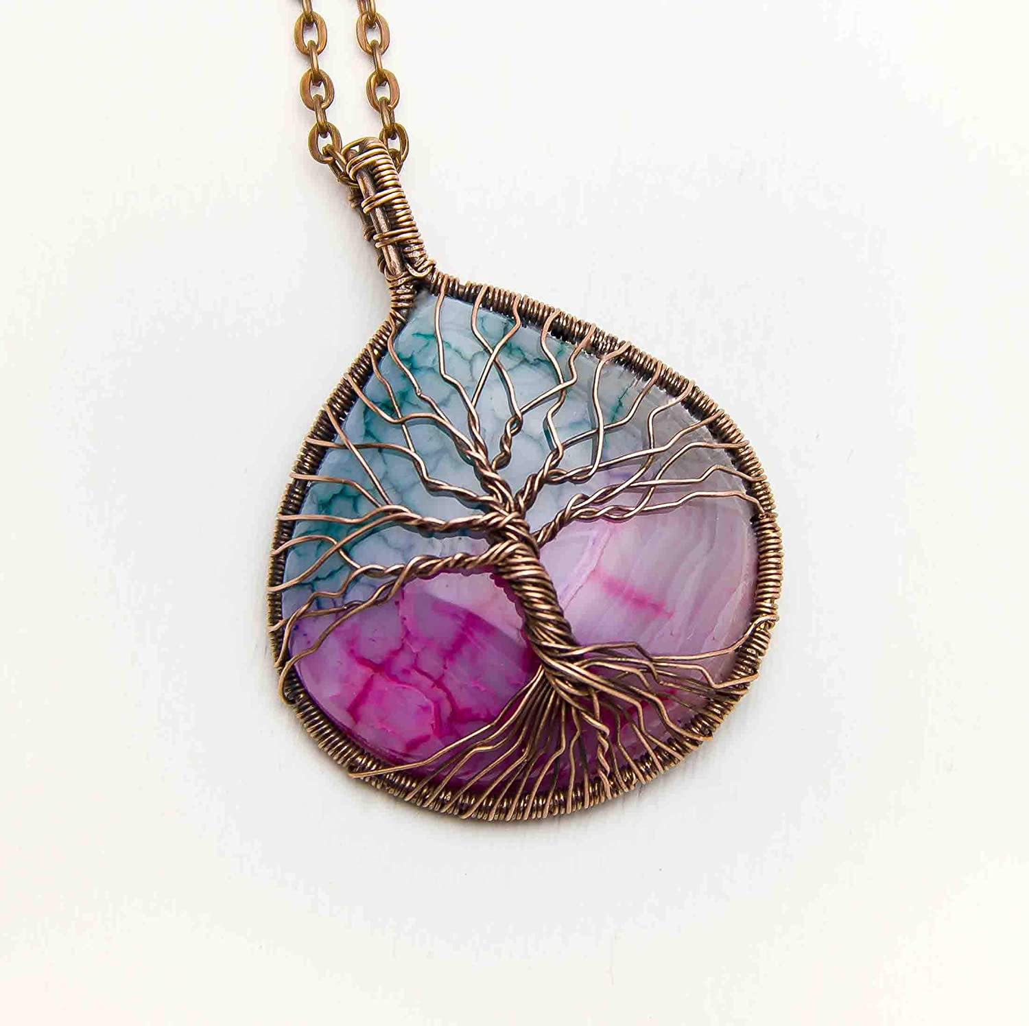 Turquoise Tree of life pendant necklace Copper wire wrap pendant Turquoise Tree necklace Family tree necklace with roots Celtic jewelry