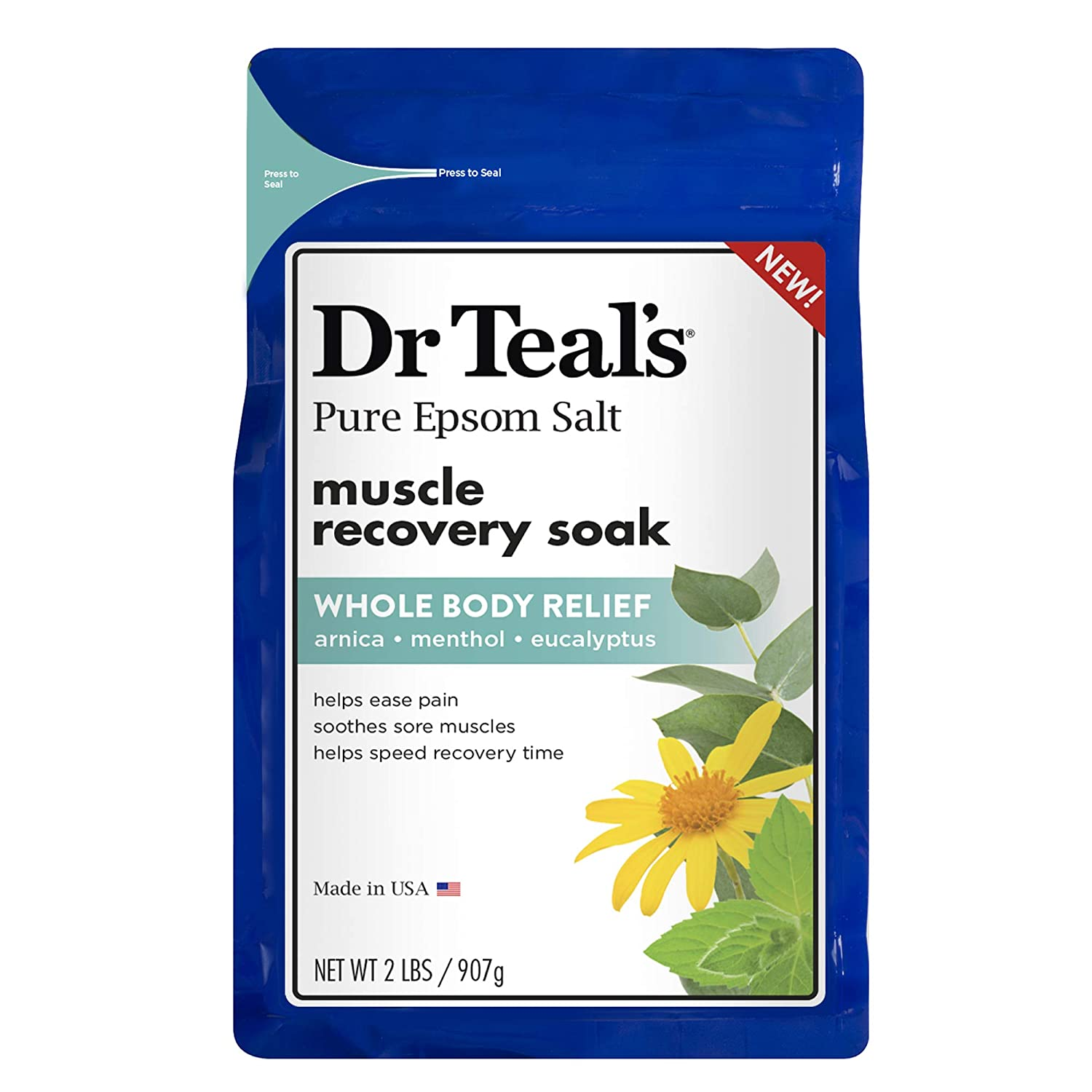 Dr. Teal's Epsom Salt - Muscle Recovery Soak - Whole Body Relief with Arnica, Menthol, Eucalyptus - 2lb bag Dr. Teal's