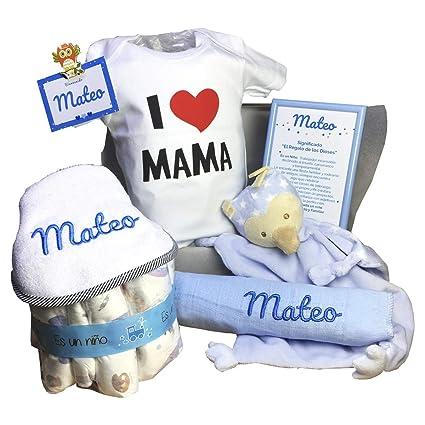 MabyBox Happy Mummy | Canastilla bebe Personalizada | regalo original Bebe | Cesta Regalo Bebé Recién nacido (Azul, 3-6 meses)