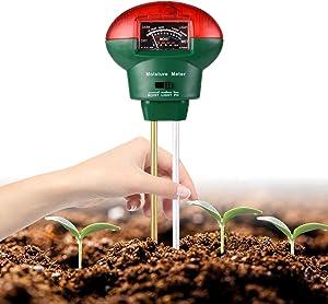 Mosthink Soil Moisture Meter, 3-in-1 Soil ph Light Moisture Tester, Plant Water Monitor Sensor Test Kit for Garden, Lawn, Farm, Indoor/Outdoor (No Battery Needed)