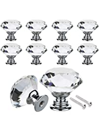 wardrobe door knobs 30mm 40mm crystal glass diamond shape cabinet knob drawer pull handle kitchen cabinet