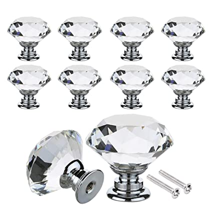 Wardrobe Door Knobs 30mm 40mm Crystal Glass Diamond Shape Cabinet Knob Drawer Pull Handle Kitchen Cabinet Handles 16 Pack