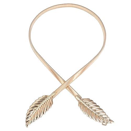BABEYOND Cinturones ajustados de las hojas del metal de las mujeres Cinturón elástico de la cintura ...