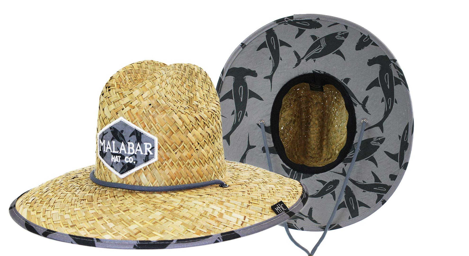 Kids Boys Youth Sun Hat Straw Hat Sharks with Fabric Print, UPF50+ Sun Hat Breathable Straw Bucket Hat Wide Brim for Summer, Elastic Band Stretches to Fits Ages 3-13