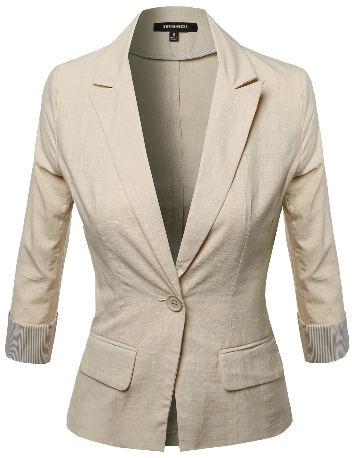 Awesome21 Women's 3/4 Sleeve Contrast Cool Touch Fabric Blazer