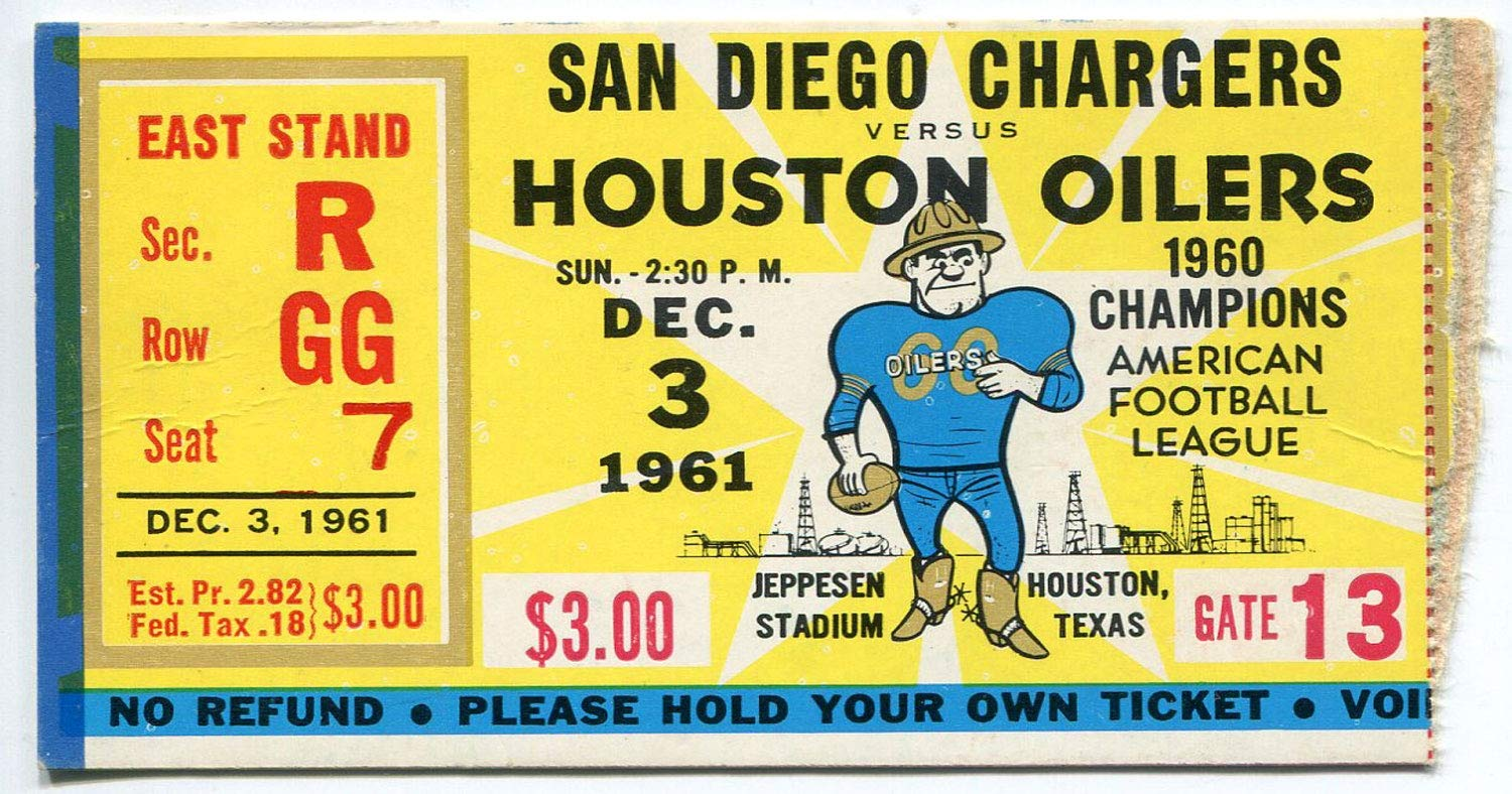 San Diego Chargers Vs. Houston Oilers December 3, 1961 Ticket