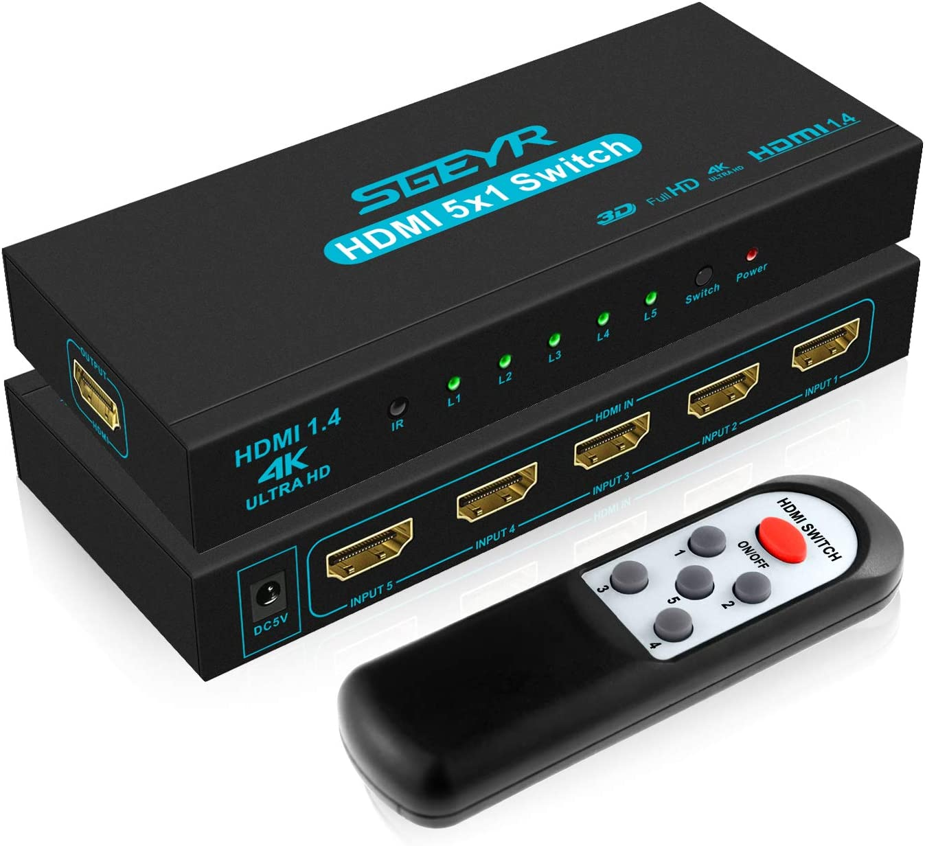 4-Port HDMI Switcher High-Speed Hdmi3 Input 1 Output 1080p HD with Infrared Remote Control Switcher