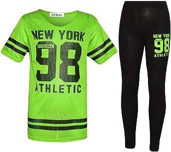 Conjunto de 2 piezas para niña de Nueva York 98 NET Top y Legging para niños de 7 a 13 años