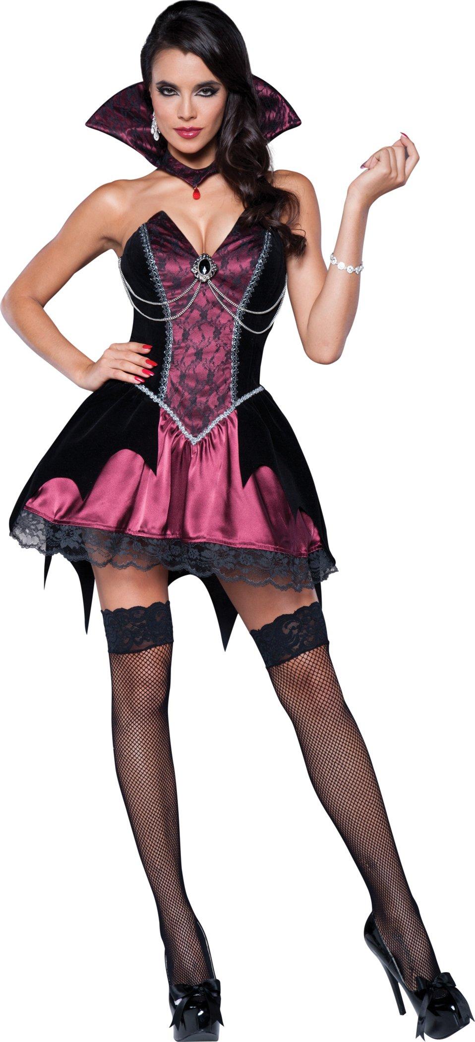 InCharacter Costumes Women's Vamp Vampiress Costume, Black/Fuchsia, Medium