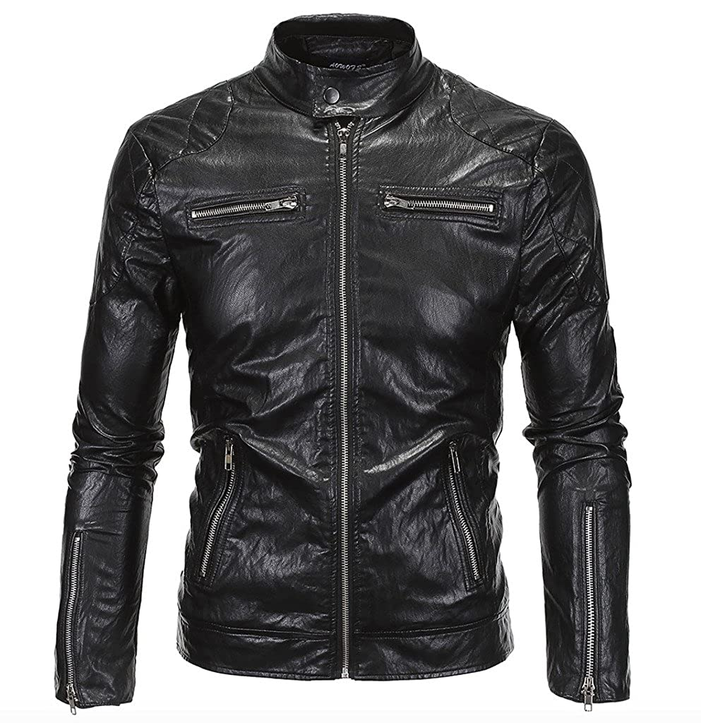 WSLCN Mens Punk Moto Jacket Faux Leather Y619