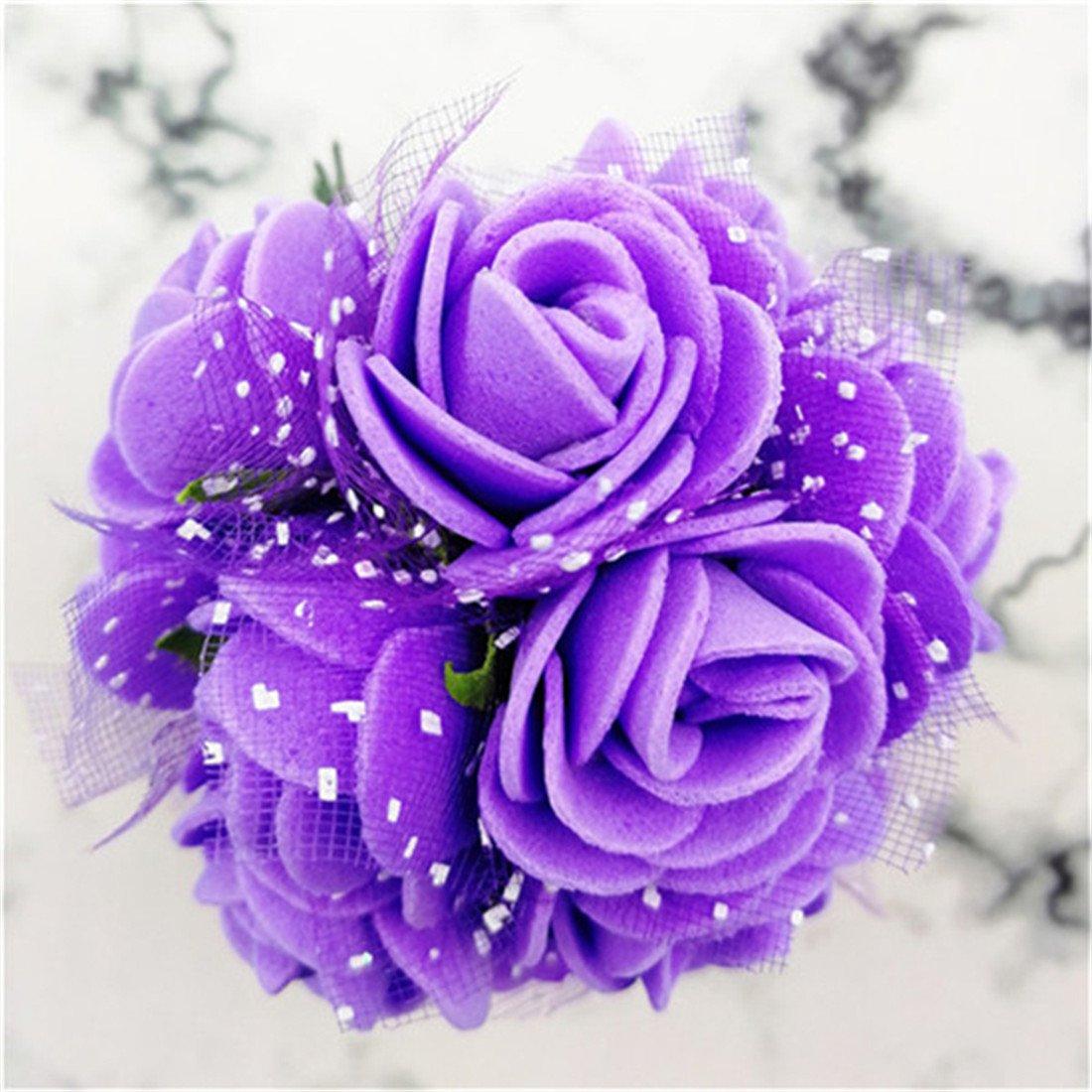ramos bricolaje boda blanco Rosa artificial de flores baby shower gran decoraci/ón cumplea/ños fiesta 144 piezas de rosas de espuma de polietileno con velo para decoraci/ón del hogar