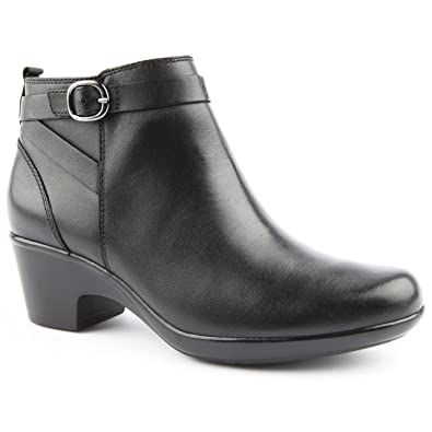 Ladies Clarks Wide Fit Malia Hawthorn Black Ankle Boots Size 9
