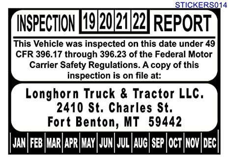 Amazon com : US DOT Annual Inspection Decal for FMCSA 49 CFR