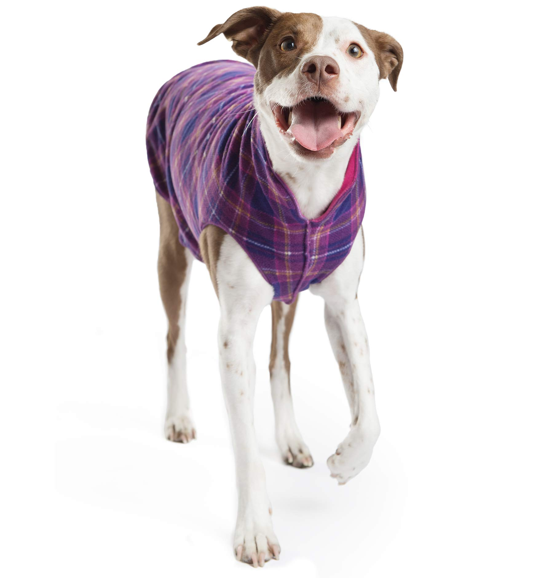 Gold Paw Duluth Double Fleece Dog Coat Pullover - Soft, Warm Dog Clothes, 4-Way Stretch Pet Sweater - Machine Washable, All-Season, Mulberry/Fuchsia, Size 12