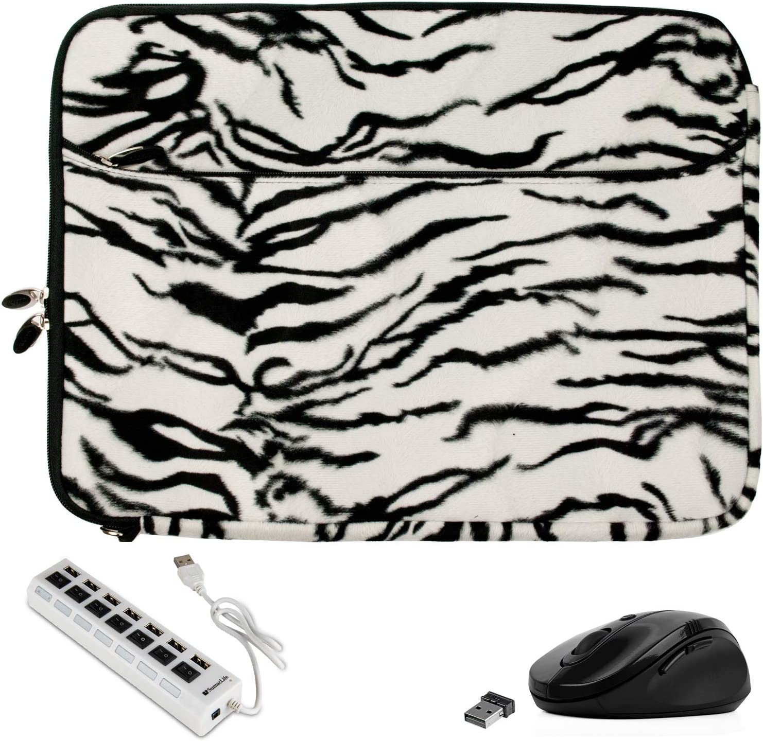 Fashion Faux Fur Zebra Laptop Sleeve 15 15.6 inch for Acer Apire R 15 3 5 7 E F, ChromeBook 15 715 CB715 C910 CB315 CP315, Nitro 7 5 Spin, Spin 3 5, Swift 3 (Includes Mouse and USB Hub)