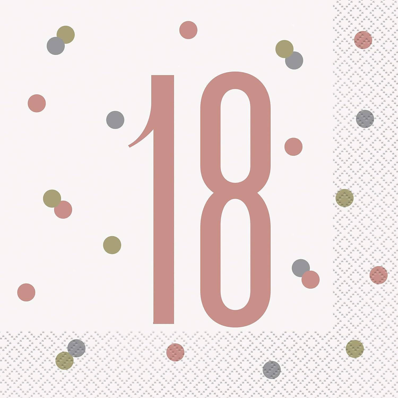 Geburtstag,gold,16er pack Unique Papierservietten mit Foliendruck f/ür den 18
