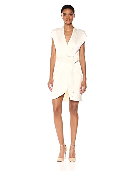 1dc0dd763cf22 Amazon.com  Halston Heritage Women s Cap Sleeve Satin Shirtdress ...