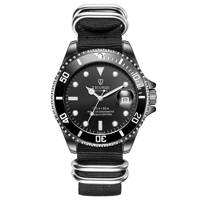 Amazon.com: Liobaba Mechanical Watch,T801 Men Automatic Mechanical Watch Luxury 30M Daily Waterproof Nylon Band Male Sport Clock Fashion Luminous ...
